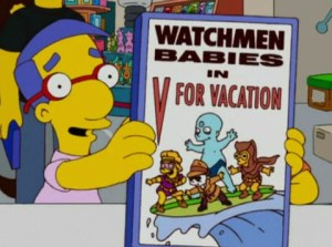 "Image of Milhouse holding ""Watchmen Babies"" comic."